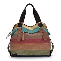 Vere Gloria Women's Canvas Leather Shoulder Handbag Bags Color Block Striped Large Capacity Tote for Travel