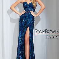 Long Strapless Sequin and Lace Tony Bowls Dress