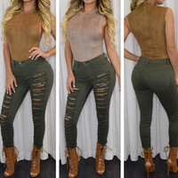 FASHION HOLLOW OUT HOLE JEANS