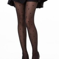 Black Sheer Tights with All Over Heart Pattern
