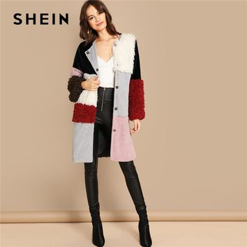 d416837450 SHEIN Multicolor Single Breasted Color-Block Teddy Knee Length F. Gender: Women;Outerwear ...