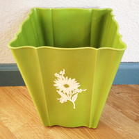 Retro Basil Green Waste Basket with White Flower Detail, Tapered, Scalloped, Square