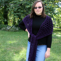 Long scarf open weave mesh eggplant purple crochet custom colors available