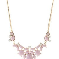 Purple Dainty Faceted Stone Necklace by Charlotte Russe