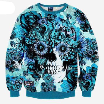 Floral Skull All Over Print Sweat Shirts - Men's Crew Neck Novelty Pullover