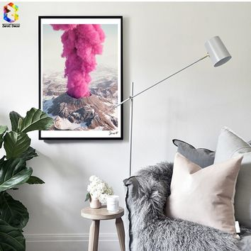 Nordic Cuadros Posters And Prints Pink Eruption Wall Art Canvas Painting Pictures For Living Room Girl Home Decoration