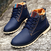 Men Winter Boots Waterproof Fashion Blue Boots with Fur Warm Lace Up Cheap Casual Flat Boots X854 5