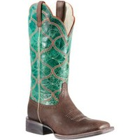 Ariat Honky Tonk Collection Ladies Seal Brown w/Green Top Big City Double Welt Square Toe Western Boots