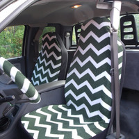 1 Set of Green and White Chevron  Print Seat Covers and  Steering Wheel Cover Custom Made.