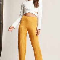 Faux Suede Wide-Leg Pants