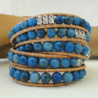 Multi 5 five chan luu boho style genuine leather wrap bracelet with blue crazy lace agate Tibetan silver faceted beads & silver plated leaf
