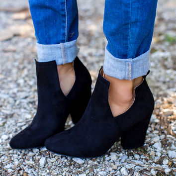 Black Open Side Booties