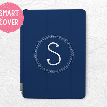 Navy blue Personalized monogram initial iPad Smart Cover, custom Laurel Wreath Case for iPad Mini, iPad mini 2 retina, iPad mini 3