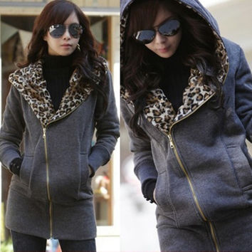 3 Colours US Size S-4XL New Women Lady Leopard Hoodie Tops Fleece Jacket Zip Coat Sweatshirt Outwear Autum Parka