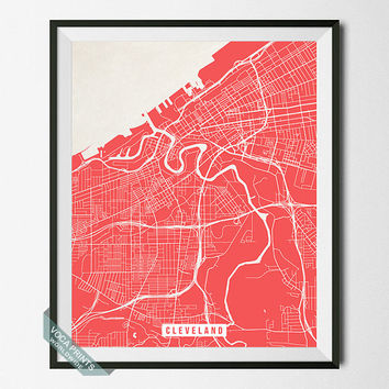 Cleveland Street Map, Ohio Poster, Cleveland Poster, Ohio Print, Home Decor, United States, Map Print, Wall Art, Back To School