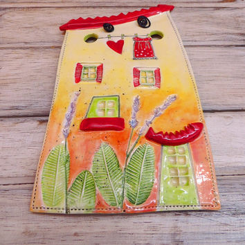 Ceramic house, ceramic wall hanging, clay house, pottery house, house hanging, house of love, house ornament