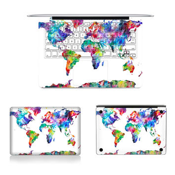 "Laptop Full Vinyl Decal Top Bottom and Keyboard Side Sticker World Map Skins For Macbook Air Retina Pro 11""12""13""15"""