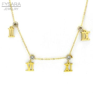 FYSARA Brand Roman Numerals Pendant Necklace For Women AAA Circle CZ Crystal Collar Gold-Color Statement Necklace Love Jewelry