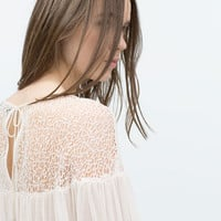 Puffed sleeve combined lace shirt