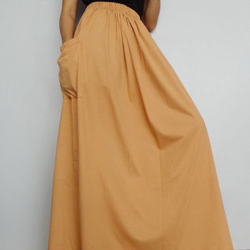 Women Maxi Long Skirt , Casual Gypsy, Bohemian , Cotton Blend In Soft Tangerine (Skirt *M1).