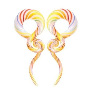 BodyJ4You Glass Taper Swirl Spiral Rainbow Plugs Ear Gauges Treble Hanger 4G (5mm) Stretchers 2PCS
