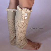 Natural Off White Leg Warmer Boot Sock