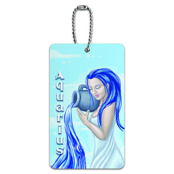 Aquarius Water Bearer Zodiac - Astrological Sign Astrology ID Card Luggage Tag