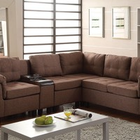 Cleavon collection brown linen fabric upholstered reversible modular sectional sofa