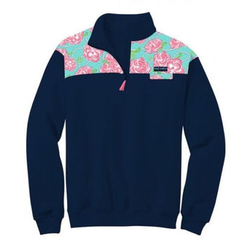 Simply Southern Pullover Navy Pattern Long Sleeve Sweatshirt Jacket Sweater