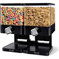 Large Dry Cereal Storage 2 Double Canister Organizer Dispenser, Square