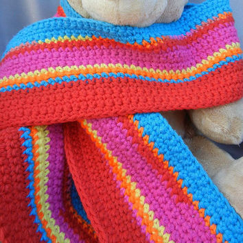 Cotton Crochet Scarf Red Orange Pink and Turquoise by CroweShea