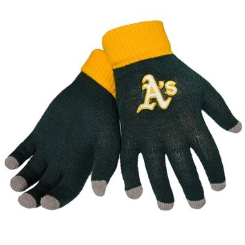 Oakland A's Stretch Knit Gloves with Texting Tips MLB