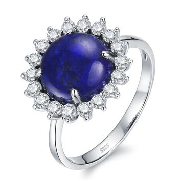 Iris Blue Vintage 4.5ct Natural Lapis Stone 925 Sterling Silver Flower Halo Ring