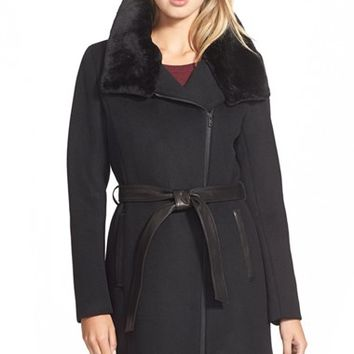 Women's Soia & Kyo 'Elma' Belted Wool Blend Coat with Removable Faux Fur Trim,