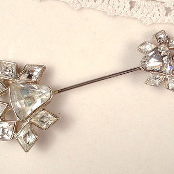 1920s Art Deco Pave Rhinestone Stick Pin, Clear Crystal Lapel / Hat Pin Silver Pot Metal Grooms Boutonnier / Bridal Bouquet Pin Great Gatsby
