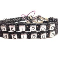 Weirdo Bracelets, Couples Bracelets, Black Hemp Bracelets, Couples Gift, Personalized Gift, Custom Bracelets, Boyfriend Girlfriend,gift idea