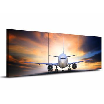 3 piece canvas art jet airplane take off landing at sunset canvas panel print