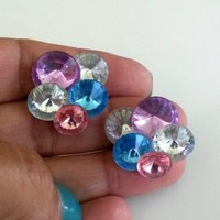 Vtg 1980s Acrylic Rivoli Rhinestone Plastic Pierced Earrings