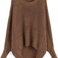 Brown Oversized Knit Winter Trendy Sweater