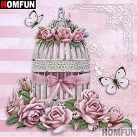 5D Diamond Painting Birdcage and Pink Roses Kit