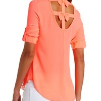 STRAPPY BOW-BACK CHIFFON TOP