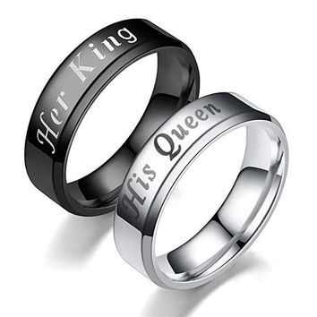 Trendy 6MM Her King His Queen Couple Wedding Ring Titanium Steel Lovers Engagement Band Ring Silver Queen Ring Black King Ring AT_94_13