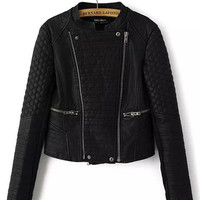 Black Geometric Texture Sleeve Zip-Up Faux Leather Short Jacket