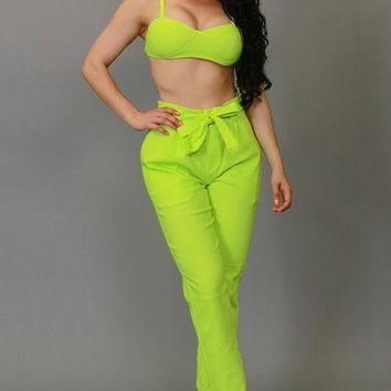 Kakra Neon Green 2 Piece Pants Set