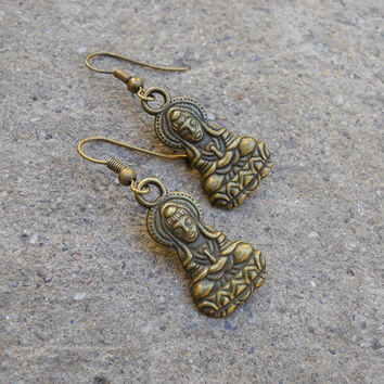 Buddha, antique brass Buddha earrings