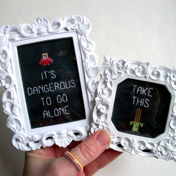It's dangerous to go alone -- Take this cross stitch set in your choice of frames, Nintendo Legend of Zelda meme