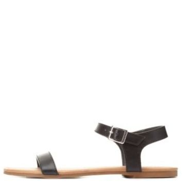 Black Single Strap Flat Sandals by Charlotte Russe