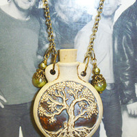 Tree of Life  Oil Bottle Pendant Necklace with Pearly Green Accents  hippie   NEW perfume bottle  ashes bottle