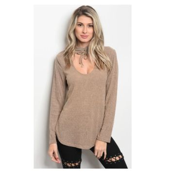 """Adorable Me"" Lace Up Choker, V Neck Mocha Sweater Top"