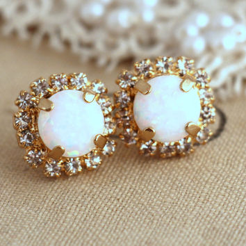 Opal earrings, White Opal Stud earrings, Crystal Swarovski stud earrings, Opal Crystal studs, Gift for her,  Opal jewelry, Opal Studs